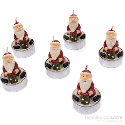 6 Lı Dekoratif Yılbaşı Mum Noel Baba Mumları