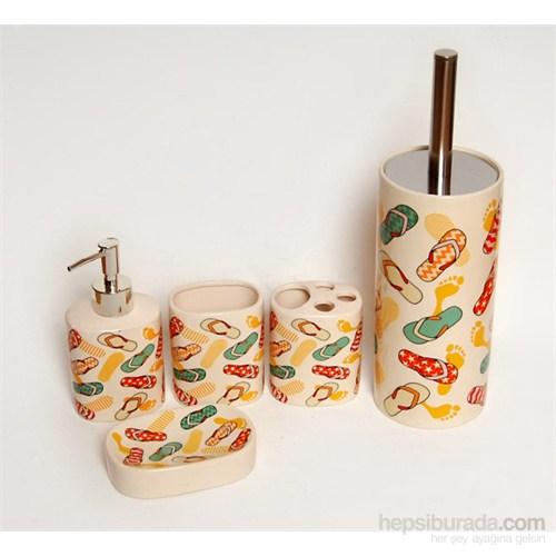 5 Li Seramik Banyo Seti-Terlikli