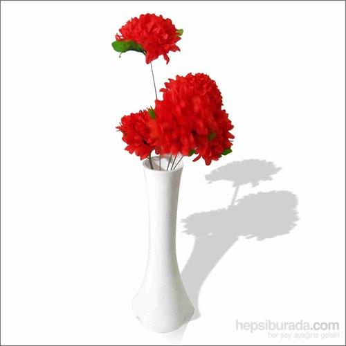 Kırmızı Çiçekli Kırılmaz 40 cm Beyaz Vazo