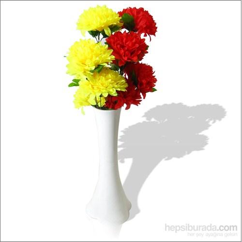 Sarı Kırmızı Çiçekli Kırılmaz 40 cm Beyaz Vazo
