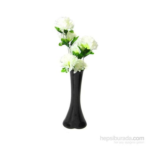Beyaz Çiçek 40 cm Kırılmaz Siyah Vazo