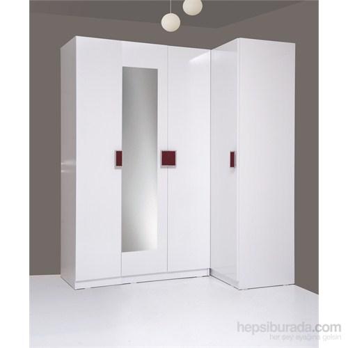 Kenyap Plus 814731 Stella AYNALI Raflı&Üç Çekmeceli Dört Kapılı Köşe Sonsuz Gardırop-Parlak Beyaz