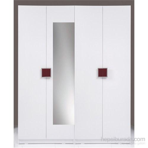 Kenyap Plus 814755 Stella AYNALI Üç Çekmeceli&Askılıklı Dört Kapılı Sonsuz Gardırop-Parlak Beyaz