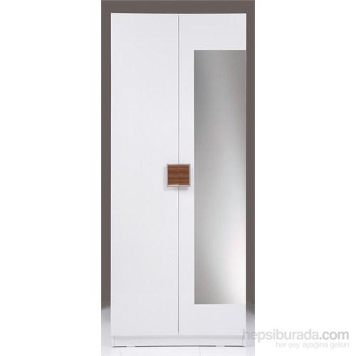 Kenyap Plus 814816 Stella AYNALI Raflı&Askılıklı İki Kapaklı Sonsuz Gardırop-Parlak Beyaz