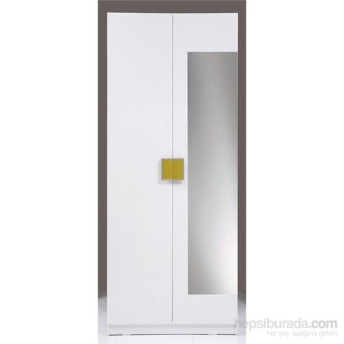 Kenyap Plus 814908 Stella AYNALI Üç Çekmeceli İki Kapılı Sonsuz Gardırop-Parlak Beyaz