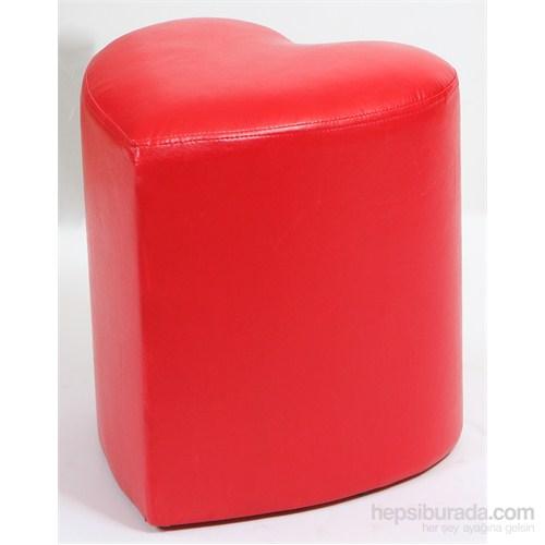 Deri Kalp Puf Kırmızı