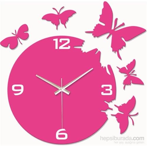 Pembe Kelebekler Duvar Saati