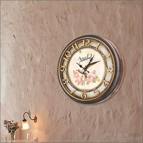 Kabartma Kadran Kuş Ve Çiçek Duvar Saati