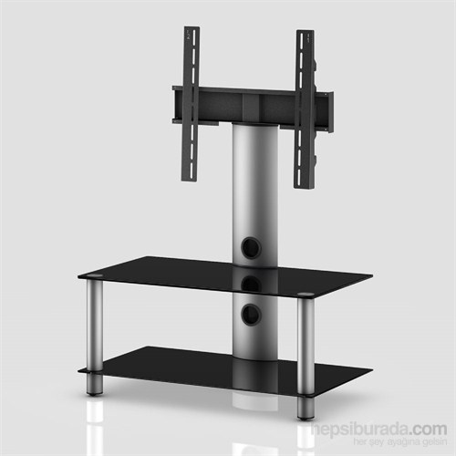 Sonorous Neo 80-B-Slv Gri Alüminyum Gövde , Siyah Cam Askı Aparatlı Tv Sehpası