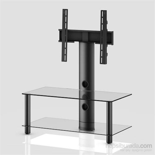 Sonorous Neo 95-C-Blk Siyah Alüminyum Gövde , Şeffaf Cam Askı Aparatlı Tv Sehpası
