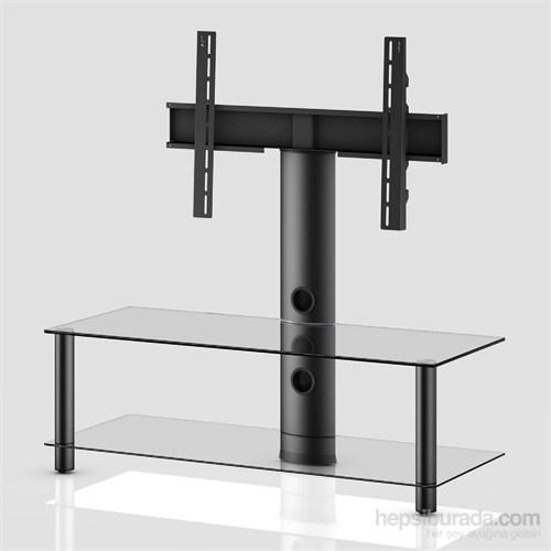 Sonorous Neo 110-C-Blk Siyah Alüminyum Gövde , Şeffaf Cam Askı Aparatlı Tv Sehpası