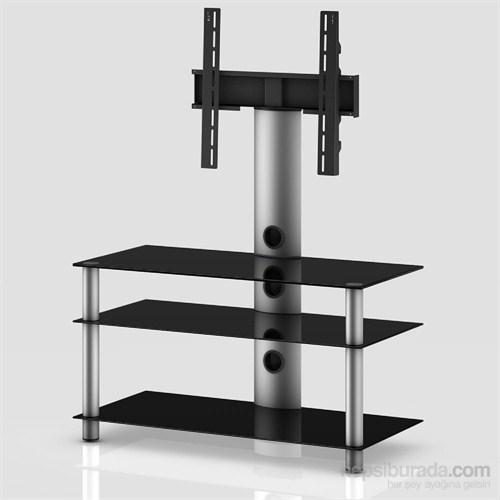 Sonorous Neo 953-B-Slv Gri Alüminyum Gövde , Siyah Cam Askı Aparatlı Tv Sehpası