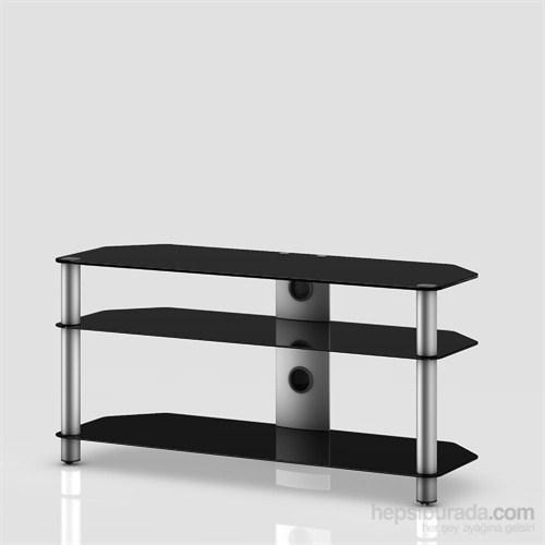 Sonorous Neo 3110-B-Slv Gri Alüminyum Gövde , Siyah Cam Tv Sehpası