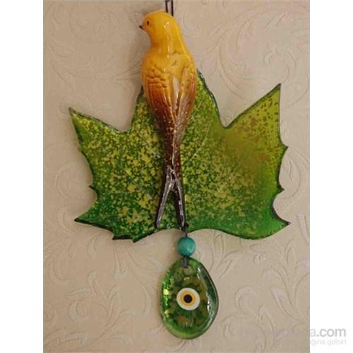 Yeşil Renkli Yaprak Kuş Nazarlık