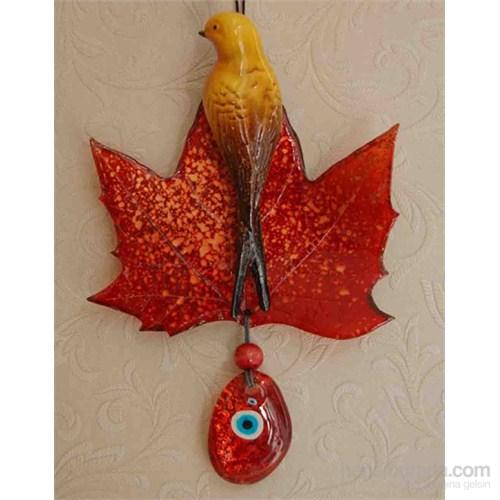 Kırmızı Renkli Yaprak Kuş Nazarlık