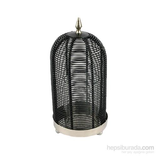 Siyah&Gümüş Silindir Çizgili Mumluk