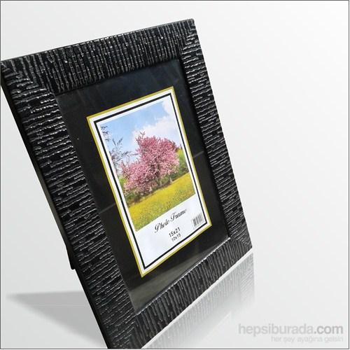 15x21 cm Siyah Deri Desenli Camlı Çerçeve