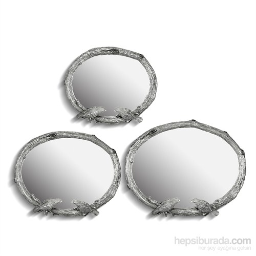Noble Life Üçlü Birds Ayna- Gümüş
