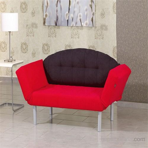 Futon Marmara İkili Kanepe ( Siyah- Kırmızı )