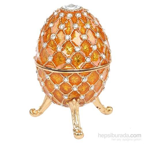 Kutulu Metal Süs Eşyası Sarı Yumurta