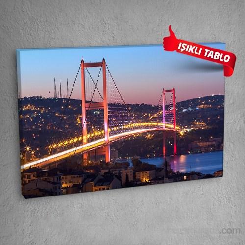 İstanbul Köprü Led Işıklı Kanvas Tablo 50X70 Cm