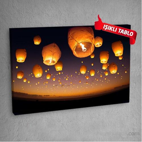Dilek Balonları Led Işıklı Kanvas Tablo 50X70 Cm