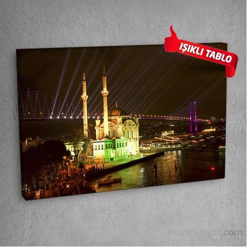 Ortaköy Camii Led Işıklı Kanvas Tablo 50X70 Cm