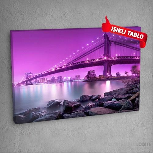 Renkli Köprü Led Işıklı Kanvas Tablo 50X70 Cm