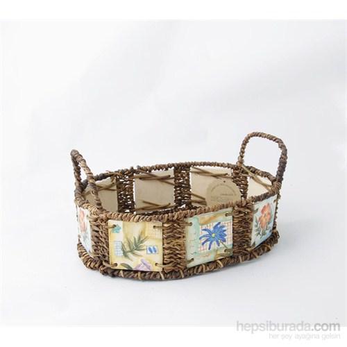 Oval Etrafı Seramik Döşeli Sepet, Çiçek