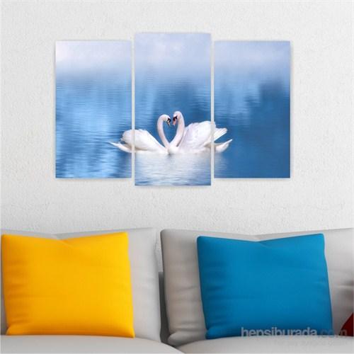 Dekoriza Kuğular & Aşk 3 Parçalı Kanvas Tablo 80X50cm