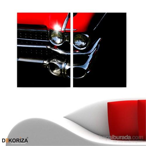 Dekoriza Klasik Kırmızı Chevrolet Araba 2 Parçalı Kanvas Tablo 102X70cm
