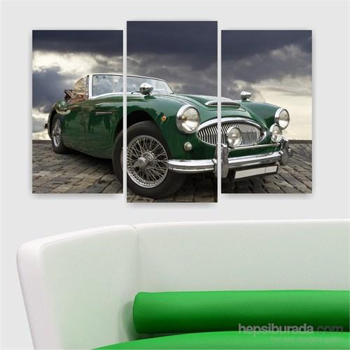 Dekoriza Klasik Yeşil Jaguar Araba 3 Parçalı Kanvas Tablo 80X50cm