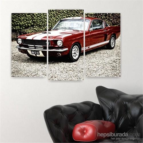 Dekoriza Klasik Bordo Ford Mustang Araba 3 Parçalı Kanvas Tablo 80X50cm