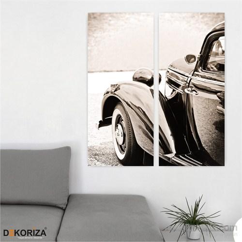Dekoriza Klasik Ford Araba 2 Parçalı Kanvas Tablo 62X70cm