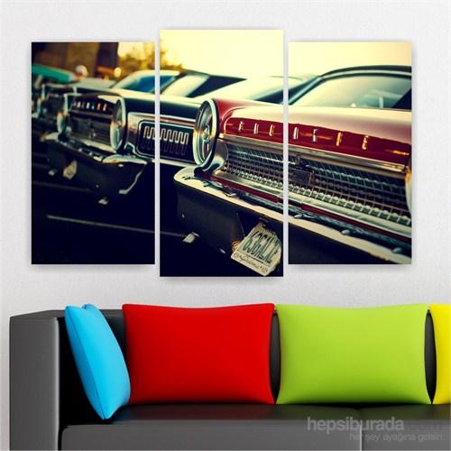 Dekoriza Klasik Arabalar 3 Parçalı Kanvas Tablo 80X50cm