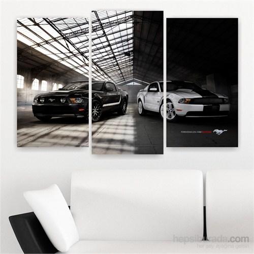 Dekoriza Ford Mustang Arabalar 3 Parçalı Kanvas Tablo 80X50cm
