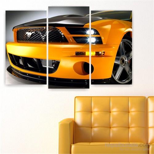 Dekoriza Sarı Ford Mustang Araba 3 Parçalı Kanvas Tablo 80X50cm
