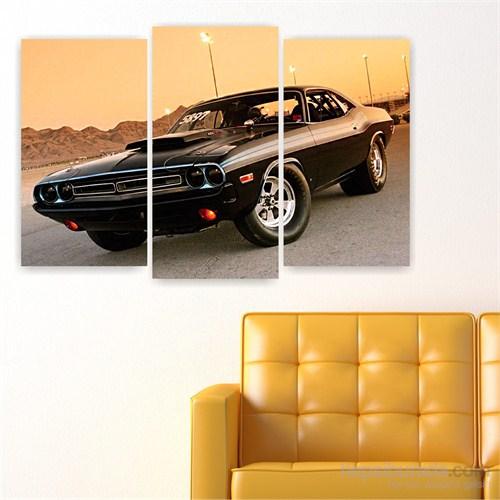 Dekoriza Klasik Dodge Araba 3 Parçalı Kanvas Tablo 80X50cm