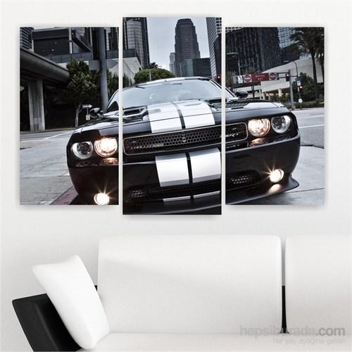 Dekoriza Dodge Challenger Araba 3 Parçalı Kanvas Tablo 80X50cm