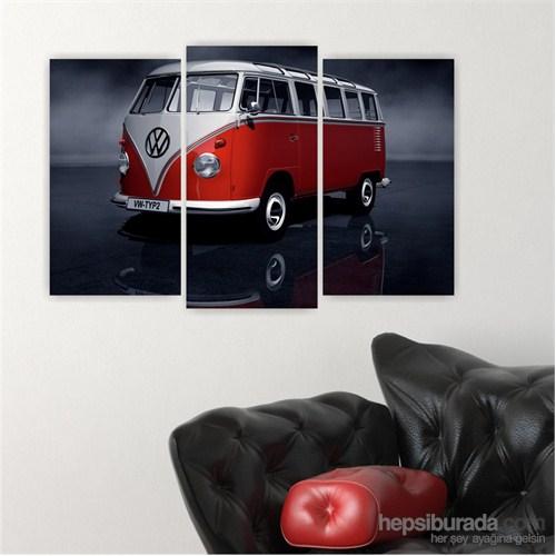 Dekoriza Klasik Kırmızı & Beyaz Volkswagen Araba 3 Parçalı Kanvas Tablo 80X50cm