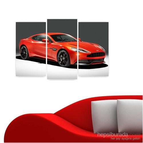 Dekoriza Kırmızı Aston Martin Araba 3 Parçalı Kanvas Tablo 80X50cm