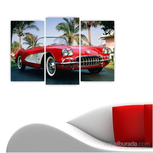 Dekoriza Chevrolet Corvette 1960 Klasik Araba 3 Parçalı Kanvas Tablo 80X50cm
