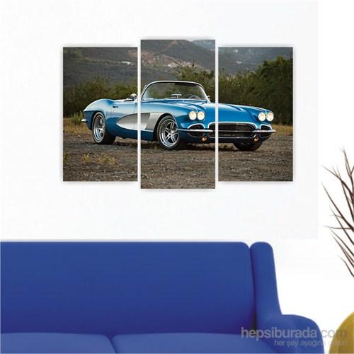 Dekoriza Chevrolet Corvette 1961 Klasik Araba 3 Parçalı Kanvas Tablo 80X50cm