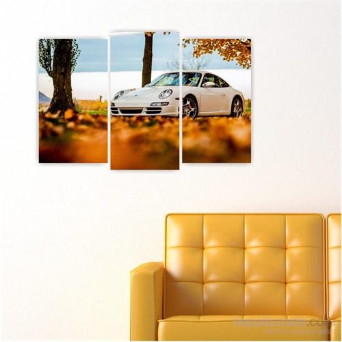 Dekoriza Beyaz Porsche Spor Araba 3 Parçalı Kanvas Tablo 80X50cm