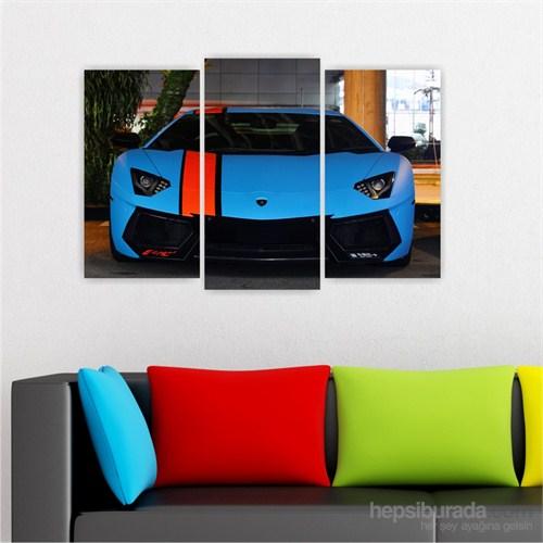 Dekoriza Lamborghini Aventador Spor Araba 3 Parçalı Kanvas Tablo 80X50cm
