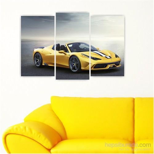 Dekoriza Ferrari 458 Cabrio Spor Araba 3 Parçalı Kanvas Tablo 80X50cm