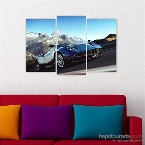 Dekoriza Lacivert Spor Araba 3 Parçalı Kanvas Tablo 80X50cm
