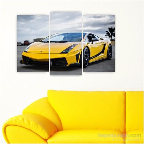 Dekoriza Lamborghini Gallardo Spor Araba 3 Parçalı Kanvas Tablo 80X50cm