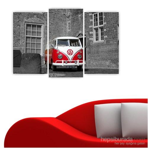 Dekoriza Wolksvagen Klasik Karavan 3 Parçalı Kanvas Tablo 80X50cm