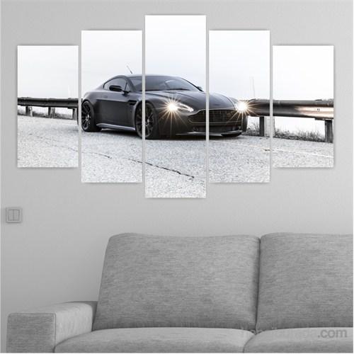Dekoriza Aston Martin Siyah Spor Araba 5 Parçalı Kanvas Tablo 110X60cm